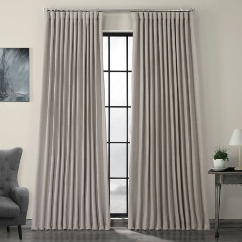 Beige Linen Extra Wide Blackout Curtain Single Panel
