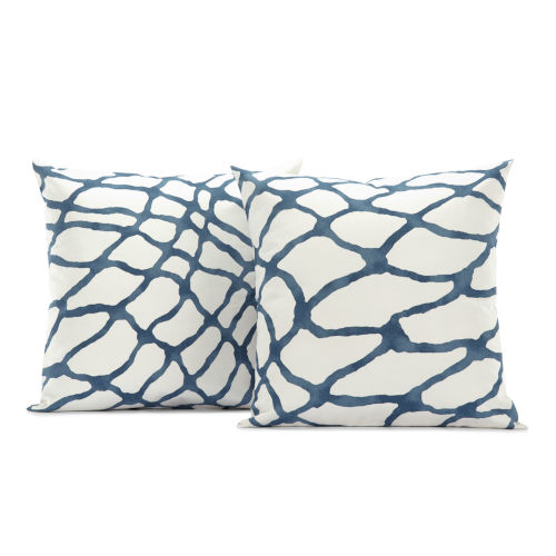 Ellis Blue Printed Cotton Cushion Cover, Set of 2