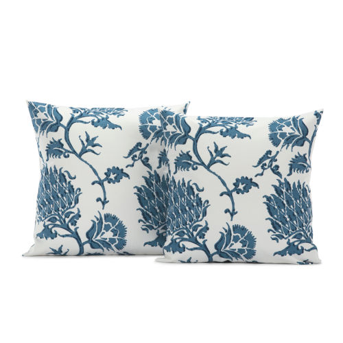 Duchess Blue Printed Cotton Cushion Cover, Set of 2