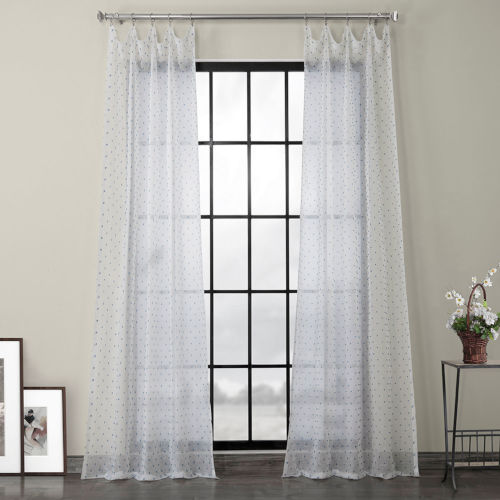 Blue Patterned Linen Sheer Curtain Single Panel