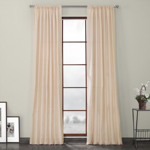 Pink 120 x 50-Inch Linen Blackout Curtain Single Panel