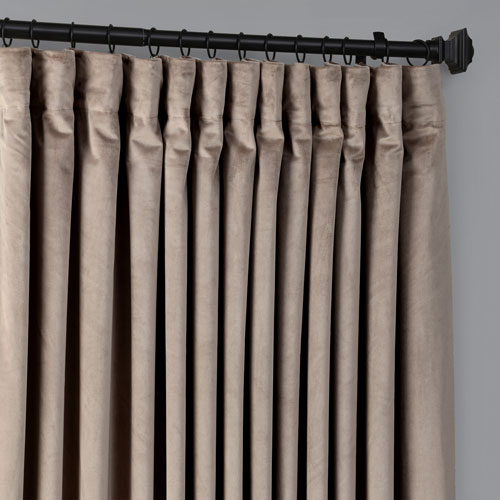 Exclusive Fabrics Furnishings Heritage Plush Velvet Extrawide Gallery Taupe 100 W X 84 H Inches Single Panel Curtain Vpyc 161209 84 Dw Bellacor