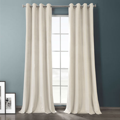 Sandalwood Beige Plush Velvet Hotel Blackout Grommet Curtain Single Panel