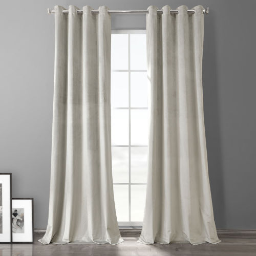 Silvery Taupe Plush Velvet Hotel Blackout Grommet Curtain Single Panel