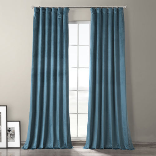 Caspian Blue 96-Inch Plush Velvet Hotel Blackout Curtain Single Panel