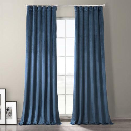 Baroness Blue 108-Inch Plush Velvet Hotel Blackout Curtain Single Panel