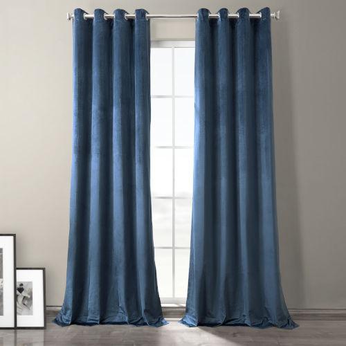 Baroness Blue Plush Velvet Hotel Blackout Grommet Curtain Single Panel