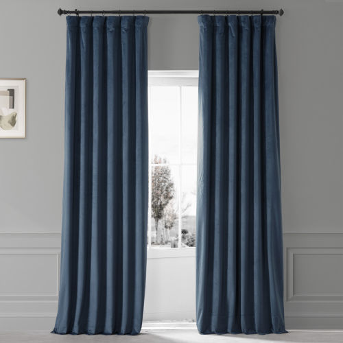 Signature Varsity Blue 50 in W x 108 in H Plush Velvet Hotel Blackout Single Panel Curtain