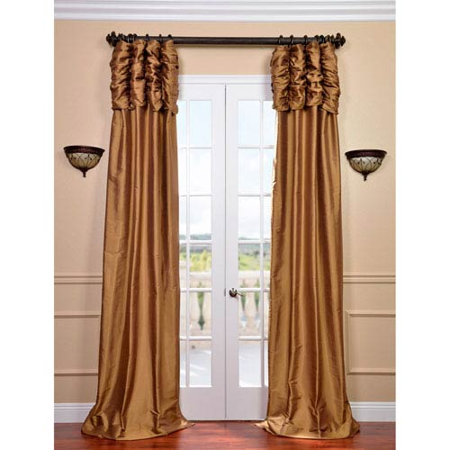 Ruched Brown Gold 96 x 50-inch Thai Silk Curtain Single Panel