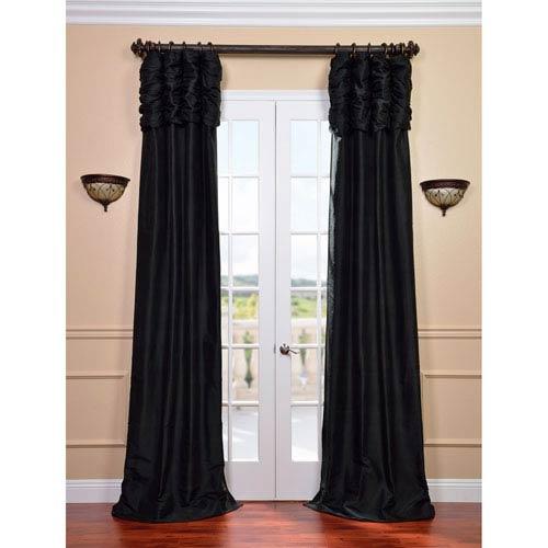 Ruched Midnight Black 120 x 50-Inch Thai Silk Curtain Single Panel