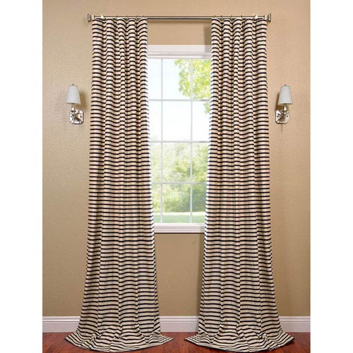Black and Cream 96 x 50-Inch Hand Weaved Cotton Curtain Single Panel