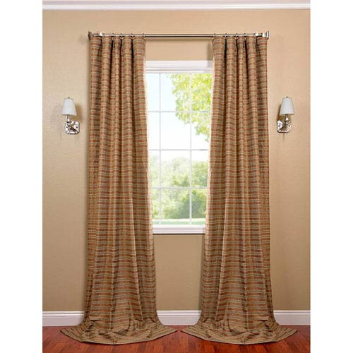 Mocha and Teal 108 x 50-Inch Casual Cotton Curtain Single Panel