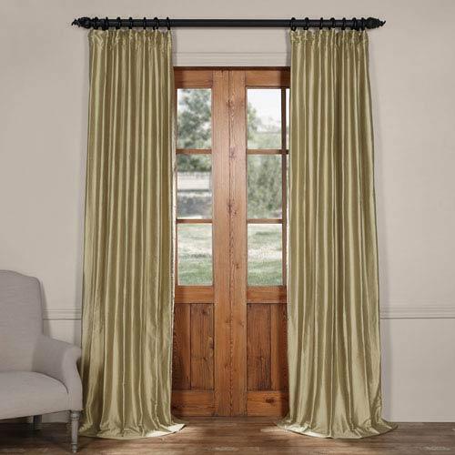 Exclusive Fabrics & Furnishings Stardust Silver 96 x 50-Inch Cotton Silk Curtain