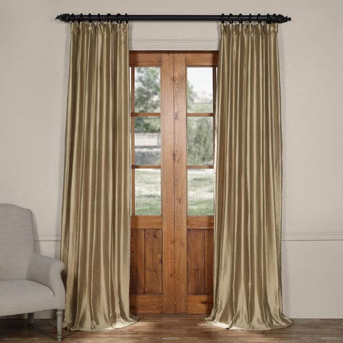 Exclusive Fabrics & Furnishings Silver Taupe Cotton Silk Curtain-SAMPLE SWATCH ONLY