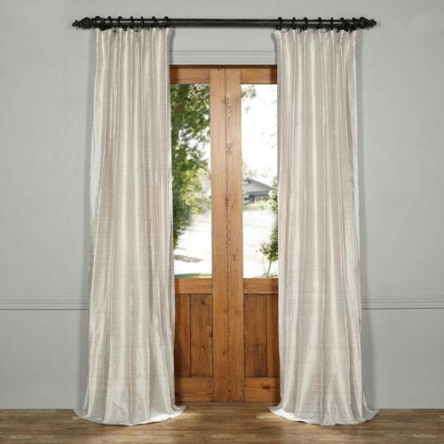 Exclusive Fabrics & Furnishings Moon Glow Silver Textured Dupioni Silk Curtain- SAMPLE SWATCH ONLY