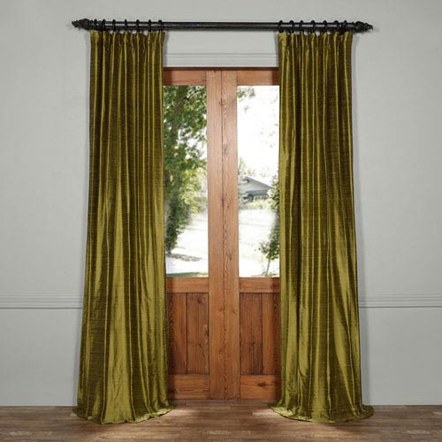 Exclusive Fabrics & Furnishings Paradise Green 96 x 50-Inch Textured Dupioni Silk Curtain