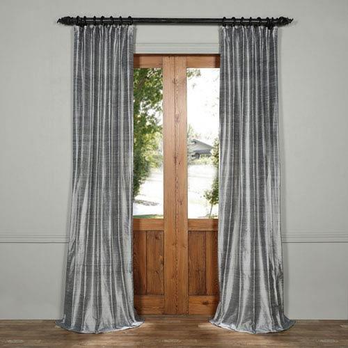 Mineral Gray 120 x 50-Inch Textured Dupioni Silk Curtain