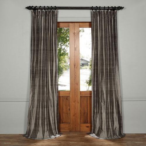 Turbulence Gray 108 x 50-Inch Textured Dupioni Silk Curtain