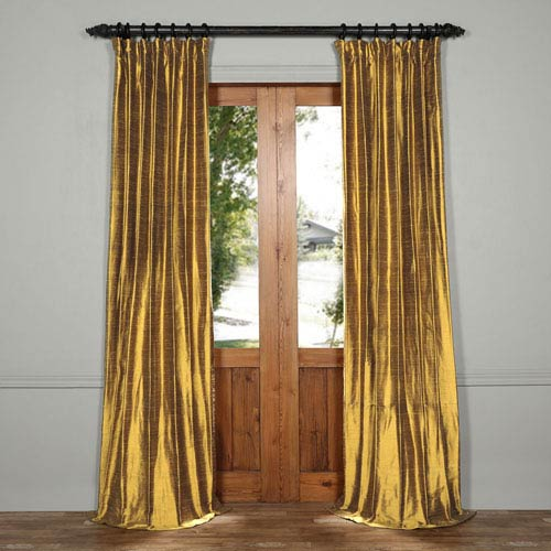 Sconce Gold 96 x 50-Inch Textured Dupioni Silk Curtain
