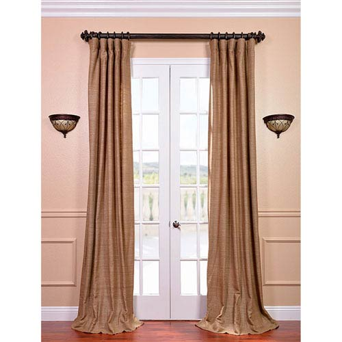 Sandalwood 120 x 50-Inch Raw Silk Curtain Single Panel
