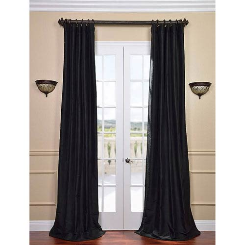 Midnight Black 108 x 50-Inch Thai Silk Curtain Single Panel