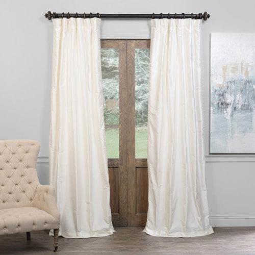 Alabaster Cream 120 x 50-Inch Thai Silk Curtain