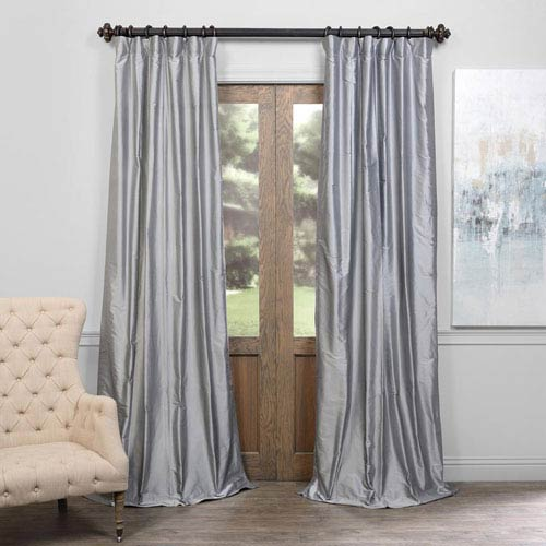 Silvery Moon 96 x 50-Inch Thai Silk Curtain