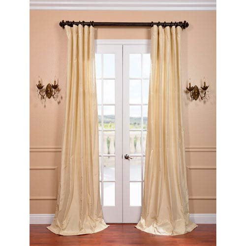 Creme Parfait 84 x 50-Inch Silk Taffeta Curtain Single Panel