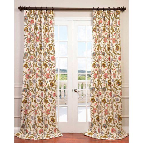 Exclusive Fabrics Furnishings Marlow Multicolor 108 X 50 Inch Embroidered Cotton Crewel Curtain Single Panel