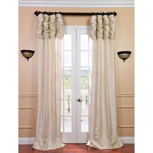 Ruched Pearl White 96 x 50-Inch Thai Silk Curtain Single Panel