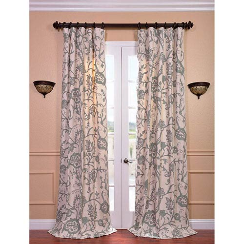 Sophie Multicolor 120 x 50-Inch Embroidered Cotton Crewel Curtain Single Panel