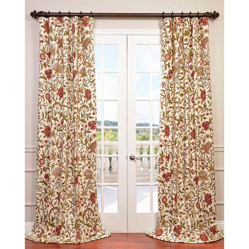 Paloma Multicolor 96 x 50-Inch Embroidered Cotton Crewel Curtain Single Panel