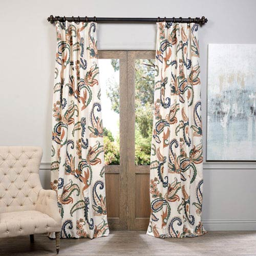 Laurel Multicolor 96 x 50-Inch Embroidered Cotton Crewel Curtain Single Panel