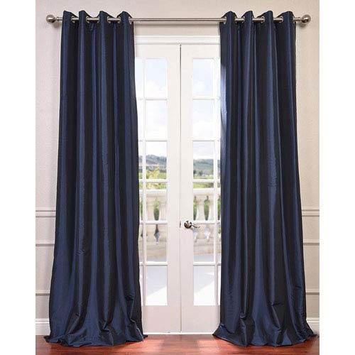 Navy Blue 108 x 50-Inch Grommet Blackout Faux Silk Taffeta Curtain Single Panel