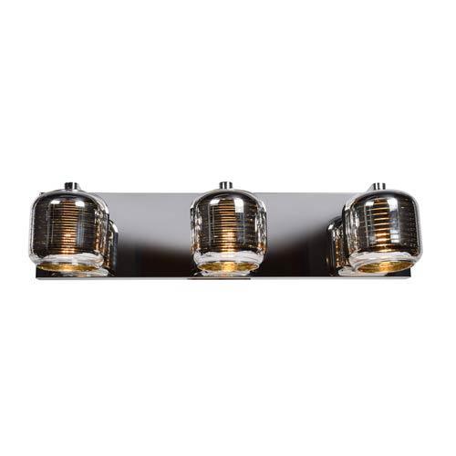 Dor Mirrored Stainless Steel LED Three-Light Bath Vanity with Mirrored Stainless Steel Outer and  Smoked Amber Inner Glass
