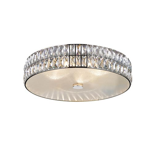 Magari Mirrored Stainless Steel 18-Inch LED Flush Mount