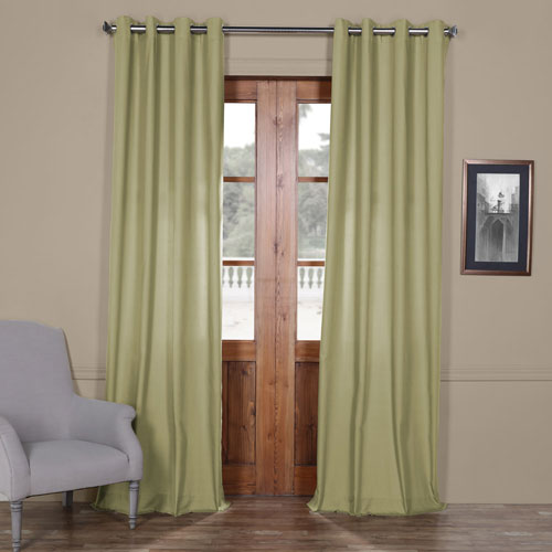 Rose Street Lake Moss Green Solid Cotton 84 x 50 In. Grommet Top Single Panel Curtain