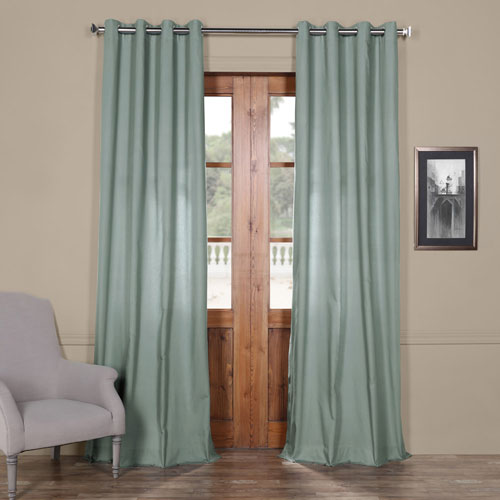 Rose Street Blue Gray Solid Cotton 84 x 50 In. Grommet Top Single Panel Curtain