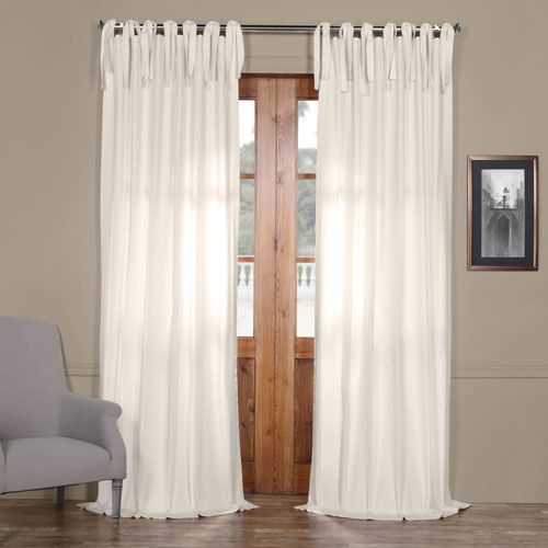 Bright White Solid Cotton 96 x 50 In. Tie-Top Single Panel Curtain