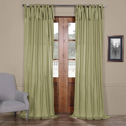 Rose Street Lake Moss Green Solid Cotton 96 x 50 In. Tie-Top Single Panel Curtain