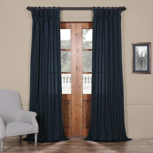 Dark Navy Solid Cotton 96 x 50 In. Curtain Single Panel