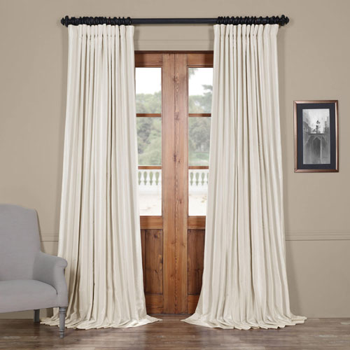 Ivory 96 x 100 In. Blackout Double Wide Vintage Textured Faux Dupioni Curtain Single Panel
