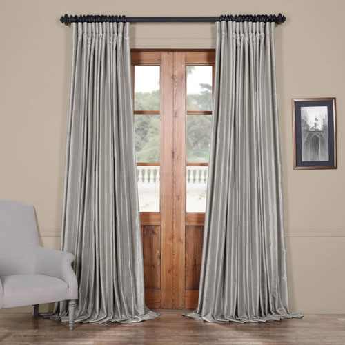 Silver 84 x 100 In. Blackout Double Wide Vintage Textured Faux Dupioni Curtain Single Panel