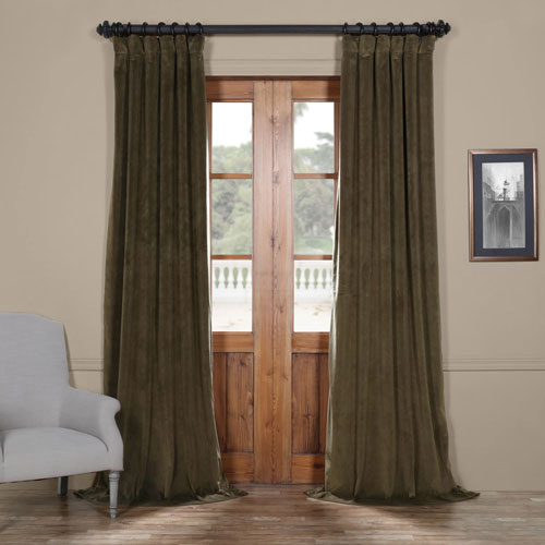 Rose Street Dark Green 96 x 50 In. Blackout Velvet Curtain Panel