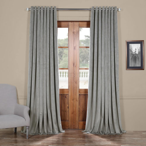 Silver Grey 84 x 100 In. Double Wide Grommet Blackout Velvet Curtain Single Panel
