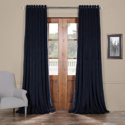 Rose Street Dark Blue 108 x 100 In. Double Wide Grommet Blackout Velvet Curtain Single Panel