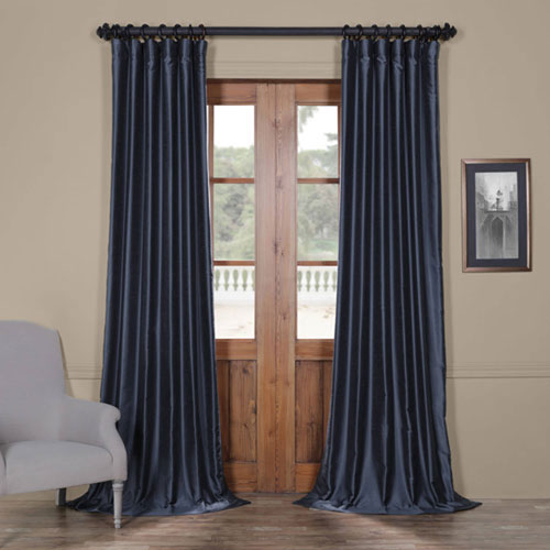 European Blue Yarn Dyed 120 x 50 In. Faux Dupioni Silk Curtain Single Panel