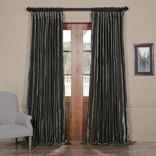 Rose Street Glossy Silver 108 x 100 In. Blackout Extra Wide Faux Silk Taffeta Curtain Single Panel