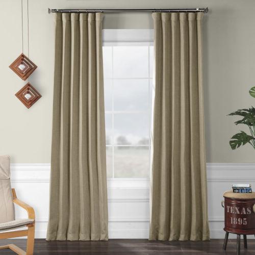 Faux Linen Blackout Beige 50 x 120 In. Curtain Single Panel