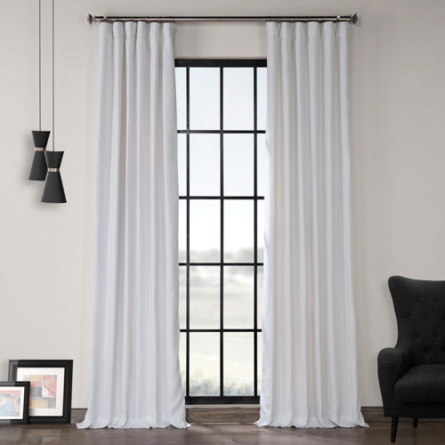 Rose Street Crisp White 108 x 50 In. Linen Curtain Panel